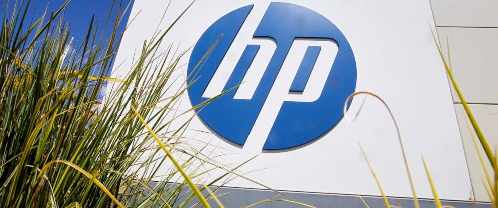 PHOTO: The Hewlett-Packard Co. logo is seen outside the companys headquarters in Palo Alto, Calif., in this Aug. 21, 2014 file photo.