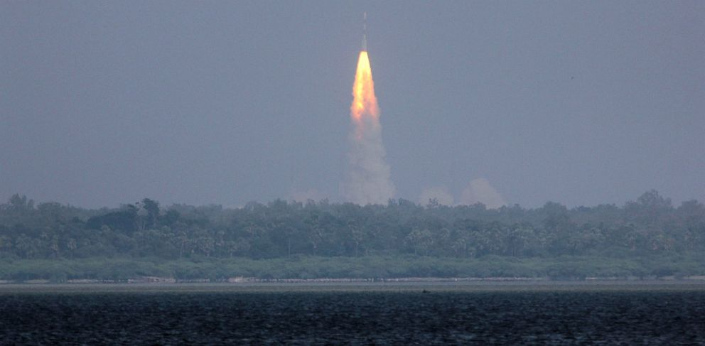 PHOTO: The Polar Satellite Launch Vehicle rocket carrying Indias Mars spacecraft lifts off