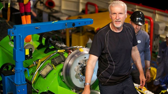 PHOTO: James Cameron emerging from the hatch. of DEEPSEA CHALLENGER
