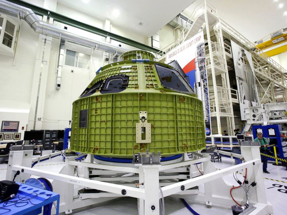 PHOTO: The Orion crew module that will fly atop the Space Launch System rocket on the first integrated flight test at the Kennedy Space Center ,Feb. 3, 2016, in Cape Canaveral, Fla.