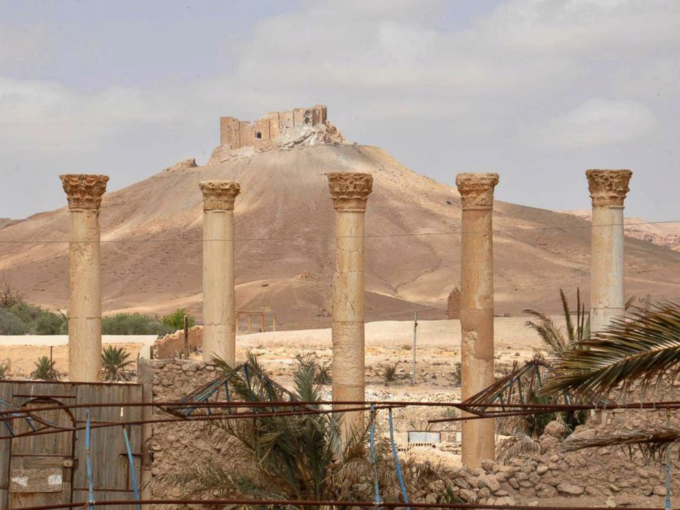 PHOTO: This photo released on March 27, 2016, by the Syrian official news agency SANA, shows a general view of Palmyra citadel, central Syria.