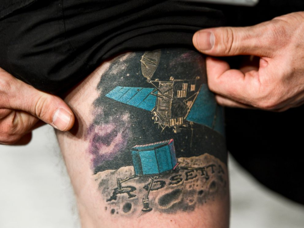 PHOTO: ESA physicist Matt Taylor shows his Rosetta tattoo at the satellite control center of the European Space Agency (ESA) in Darmstadt, Germany, Nov. 12, 2014.