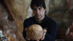 PHOTO: Dr. Omry Barzilai of Israels Antiquities Authority holds an ancient skull found inside a cave near the Israeli northern city of Nahariya, Jan. 28, 2015.