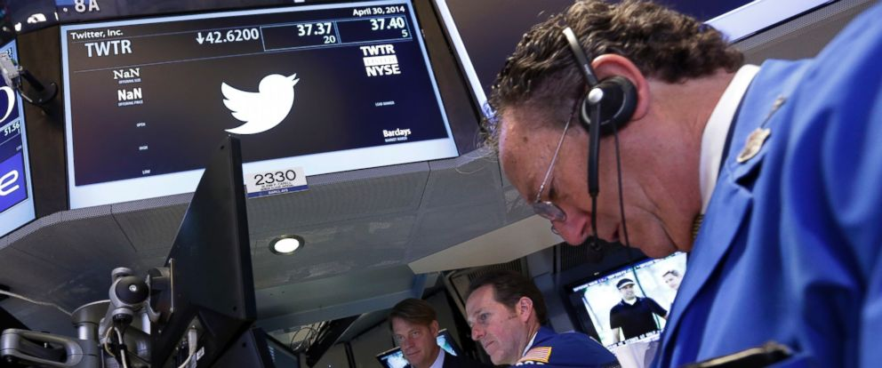 PHOTO: A trader works at the post that handles Twitter on the floor of the New York Stock Exchange