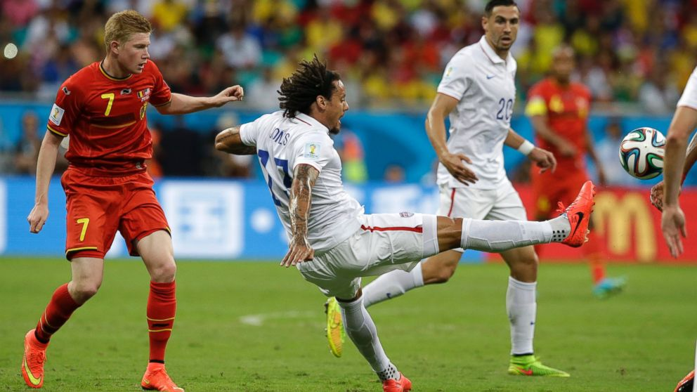 PHOTO: United States Jermaine Jones, right, clears the ball from Belgiums Kevin De Bruyne during the World Cup round of 16 soccer match between Belgium and the U.S. at the Arena Fonte Nova in Salvador, Brazil, July 1, 2014.