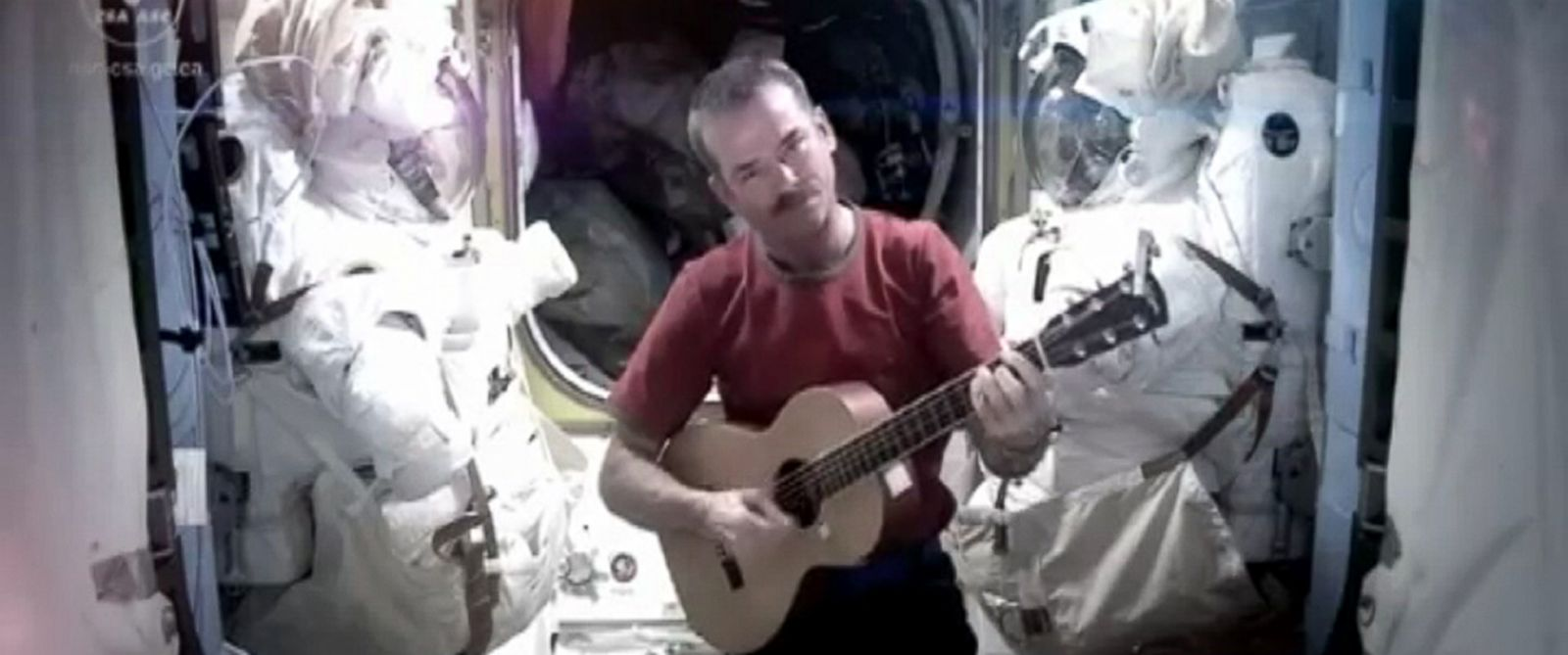 PHOTO: An undated handout video grab taken from YouTube of Commander Chris Hadfield, the former commander of the International Space Station is seen.