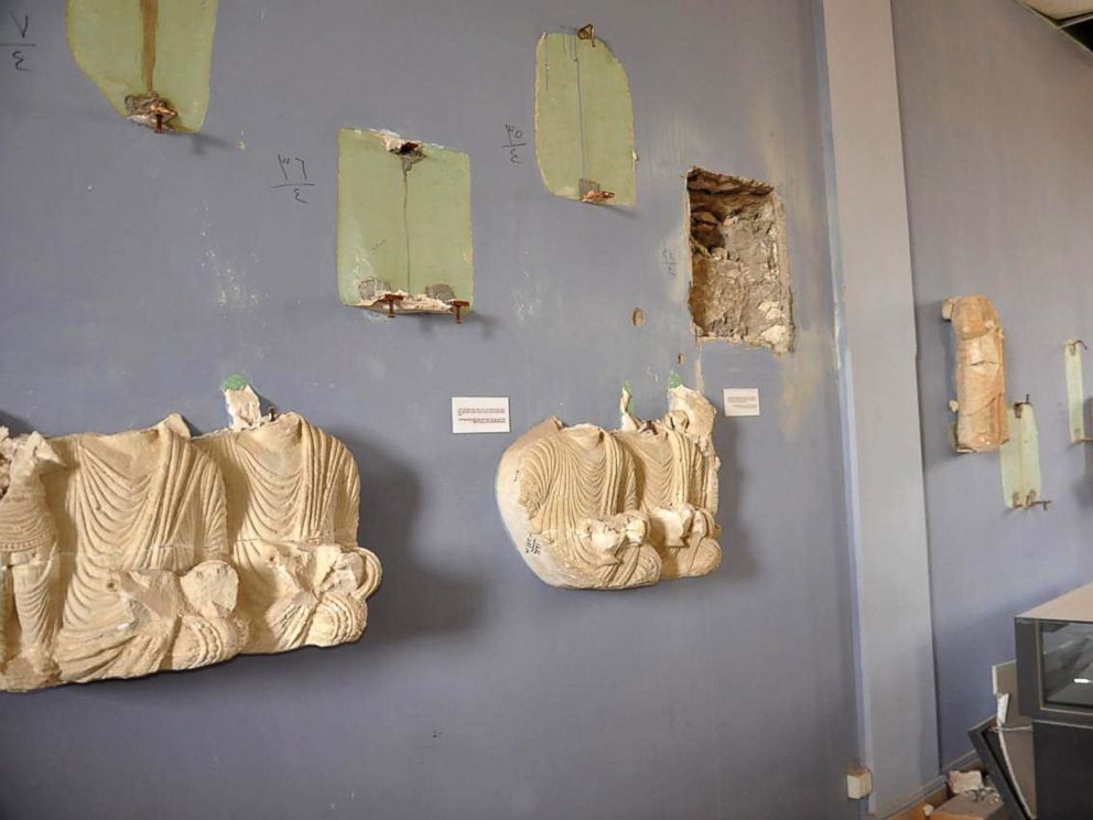 PHOTO: A handout photo released by the official Syrian Arab News Agency (SANA) on March 27, 2016 shows damage inside the national museum of Palmyra, Syria.