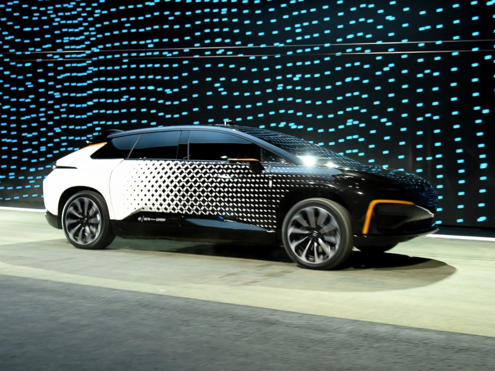 PHOTO: Faraday Futures FF 91 prototype electric crossover vehicle is shown during a speed test as it is unveiled during a press event for CES 2017 at The Pavilions at Las Vegas Market, Jan. 3, 2017 in Las Vegas.