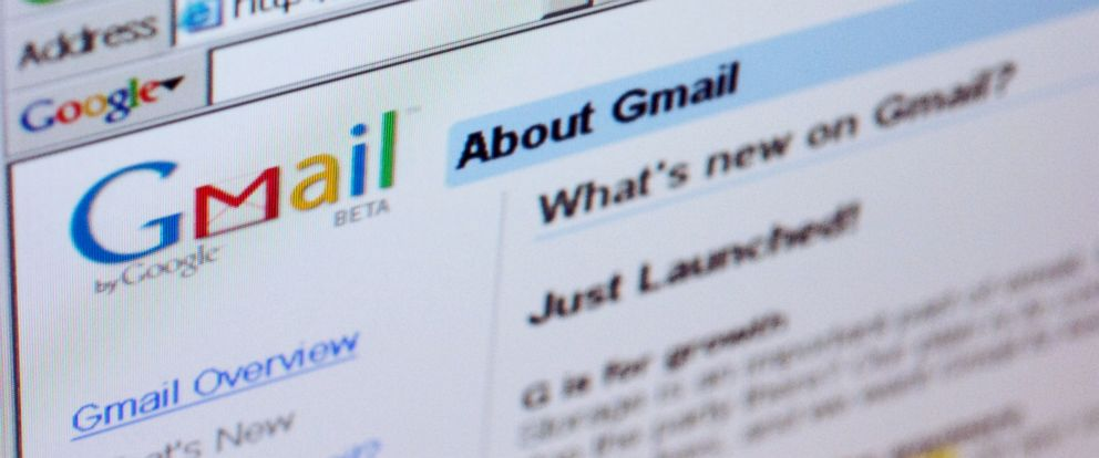 PHOTO: The Gmail logo is pictured on the top of a Gmail.com welcome.