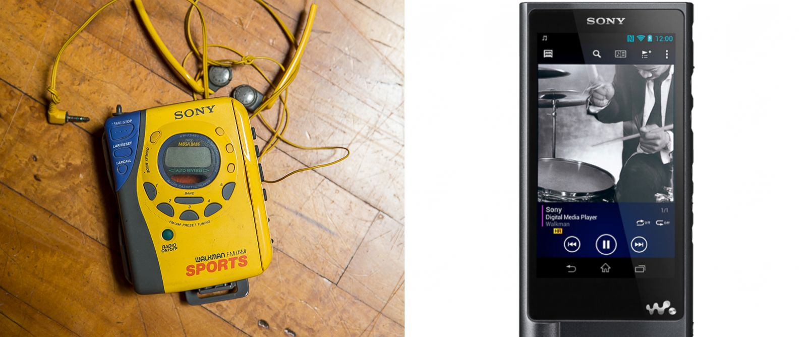 PHOTO: An old yellow Sony Sports Walkman music cassette tape player and headphones. | Sonys 128 GB Walkman Hi-Res Digital Music Player.