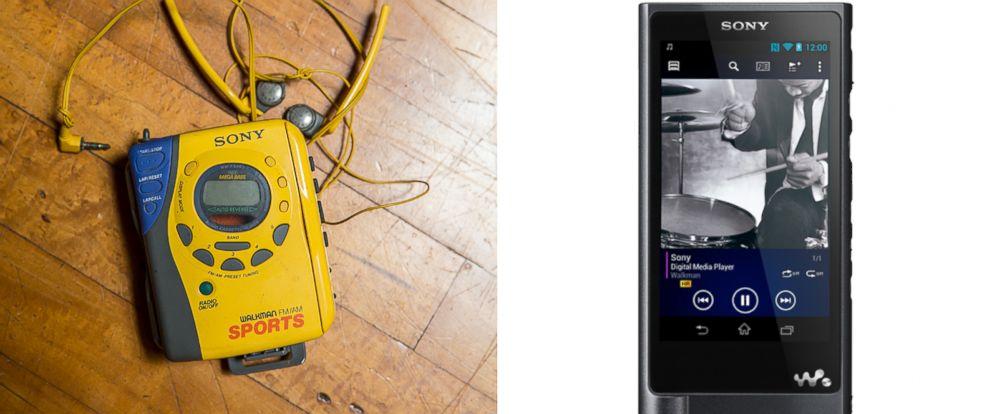 PHOTO: An old yellow Sony Sports Walkman music cassette tape player and headphones. | Sonys 128 GB Walkman Hi-Res Digital Music Player.