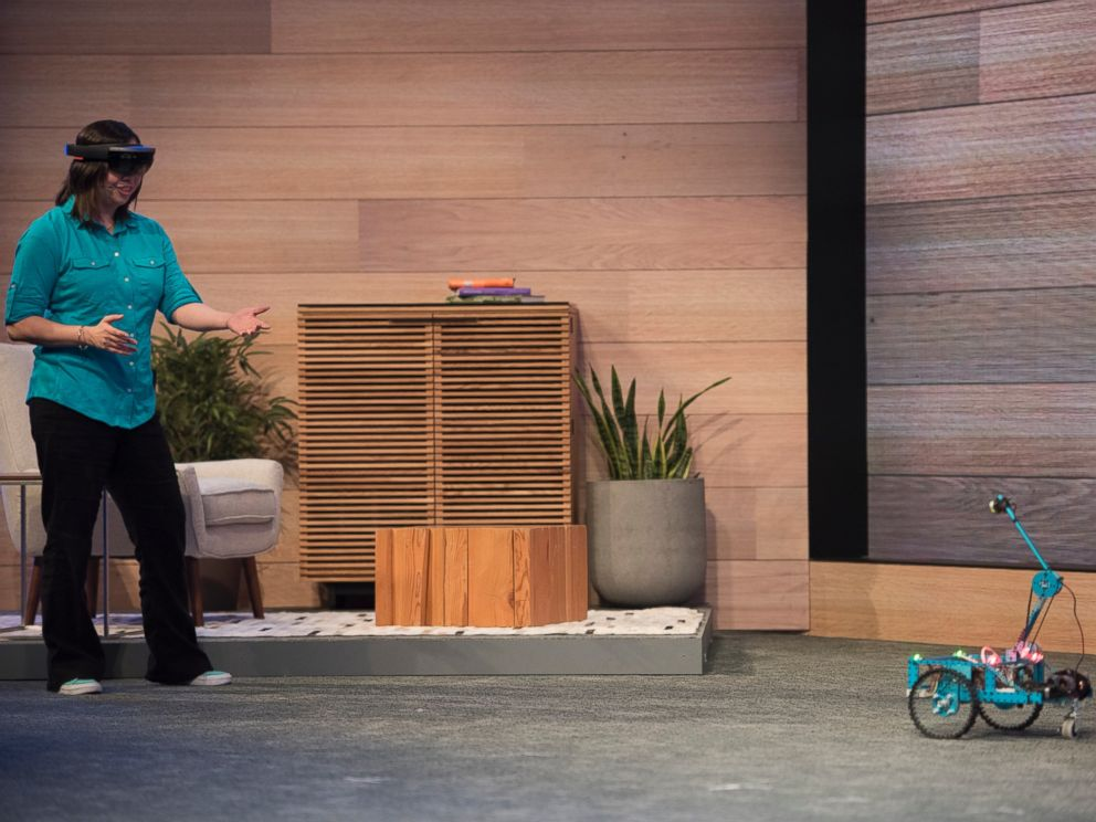 PHOTO: The Microsoft Corp. HoloLens augmented reality headset is demonstrated during a keynote session at the Microsoft Developers Build Conference in San Francisco on April 29, 2015.