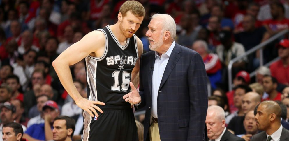 PHOTO: Head coach Gregg Popovich and Matt Bonner of the San Antonio Spurs are seen, April 28, 2015 in Los Angeles.