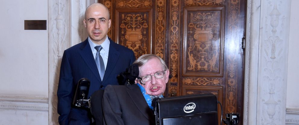 PHOTO: Global Founder Yuri Milner and Theoretical Physicist Stephen Hawking are seen at a conference on the Breakthrough Life in the Universe Initiatives, hosted by Yuri Milner and Stephen Hawking, at The Royal Society, July 20, 2015, in London.
