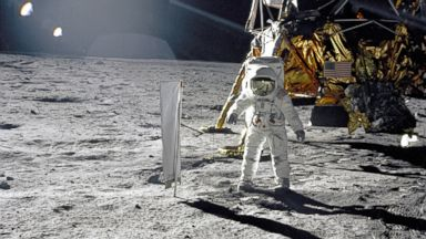 PHOTO: Astronaut Edwin Buzz Aldrin, lunar module pilot, walks on the surface of the Moon near the leg of the Lunar Module Eagle during the Apollo 11 space mission to the moon, July 20, 1969.