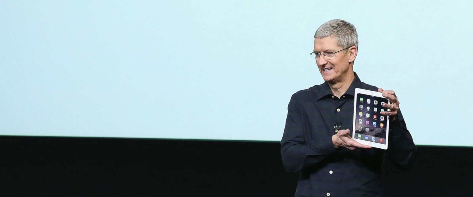 PHOTO: Apple CEO Tim Cook speaks during an event introducing the new iPad Air 2 and iPad Mini 3 at Apples headquarters Oct. 16, 2014 in Cupertino, Calif.