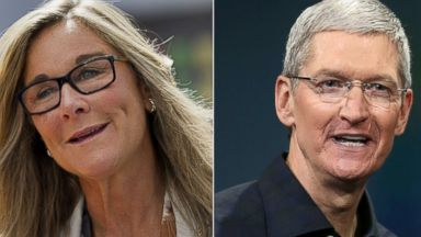 PHOTO: Angela Ahrendts, left, is pictured in Palo Alto, Calif. on Sept. 19, 2014. Tim Cook, right, is pictured in Cupertino, Calif. on Oct. 16, 2014.