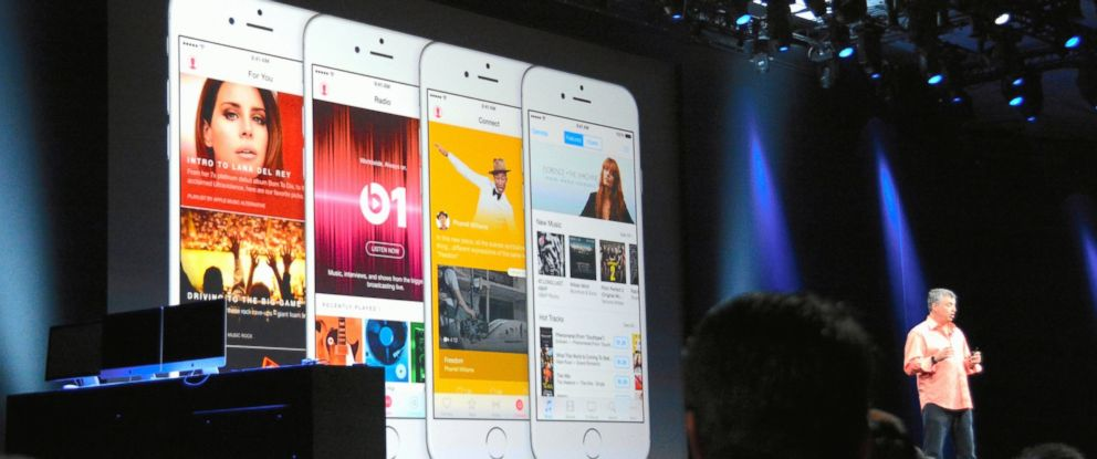 PHOTO: Apples senior vice president of Internet Software and Services Eddy Cue speaks about Apple Music during Apple WWDC, June 8, 2015, in San Francisco, Calif.