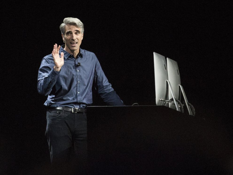 PHOTO: Craig Federighi, Apples senior vice president of Software Engineering, introduces the new macOS Sierra software at an Apple event at the Worldwide Developers Conference, June 13, 2016 in San Francisco.