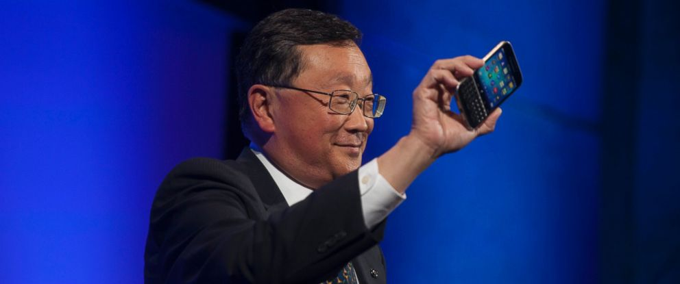 PHOTO: John Chen, chief executive officer of BlackBerry Ltd., unveils the Classic smartphone during an event in New York, Dec. 17, 2014.