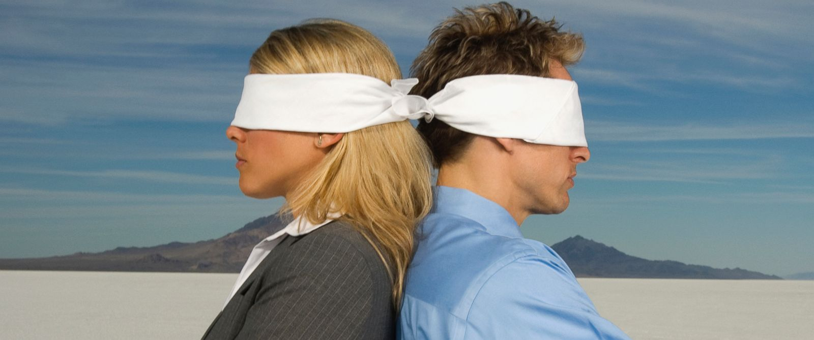 PHOTO: Blindfolded people stand back to back in this undated file photo.