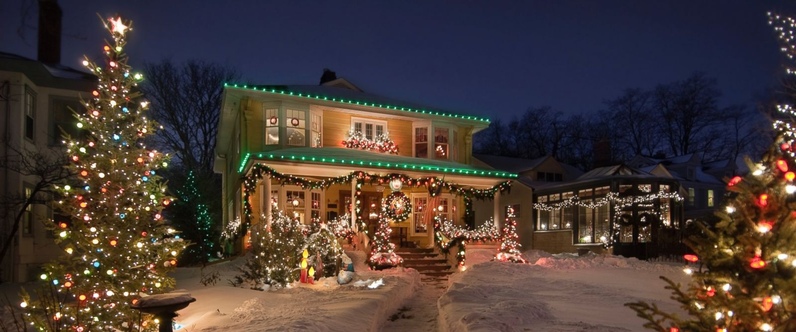 PHOTO: A Christmas display lights up a home in an undated file photo.