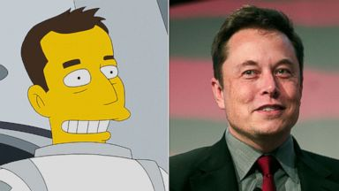 PHOTO: Elon Musk as a guest in The Simpsons, Jan. 25, 2015; Elon Musk, co-founder and CEO of Tesla Motors, speaks at the 2015 Automotive News World Congress, Jan. 13, 2015 in Detroit.