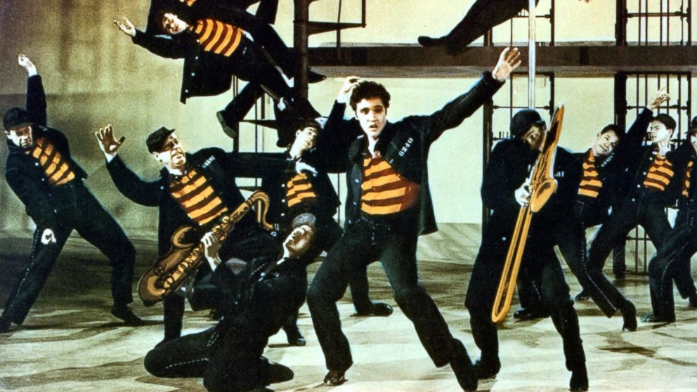 PHOTO: Elvis Presley and others dance in a scene from the film Jailhouse Rock, 1957.