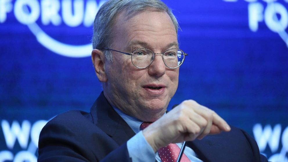 PHOTO: Eric Schmidt, chairman of Google Inc., gestures during a session on day two of the World Economic Forum in Davos, Switzerland on Jan. 22, 2015.