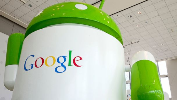 PHOTO: Google Android signs on display during the Google I/O Developer Conference in San Francisco, June 28, 2012.