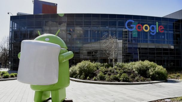 PHOTO:The sculpture of a Google Inc.'s Android mobile operating system mascot sits inside the Googleplex headquarters in Mountain View, Calif, Feb. 18, 2016.