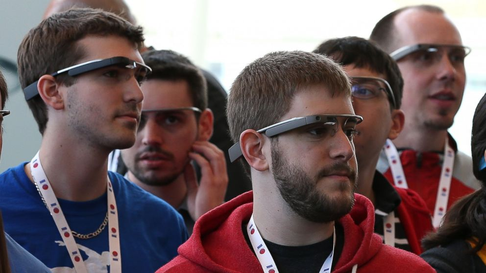 PHOTO: In this file photo, attendees wear Google Glass while posing for a group photo during the Google I/O developer conference on May 17, 2013 in San Francisco, Calif.