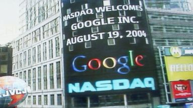 PHOTO: The Google logo appears on a screen and ticker inside the NASDAQ Marketsite just before the markets close Aug. 19, 2004 in New York.