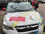 PHOTO: Googles Street View car is shown following an accident, outside a police station in Bogor, the outskirts of the capital Jakarta, Sept. 12, 2013.