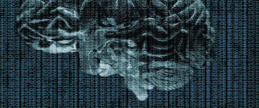 PHOTO: The human brain is superimposed with data in this stock photo.