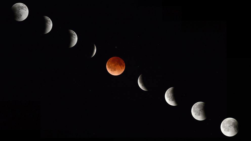 PHOTO: In this composite photograph, the moon during various phases of a total lunar eclipse