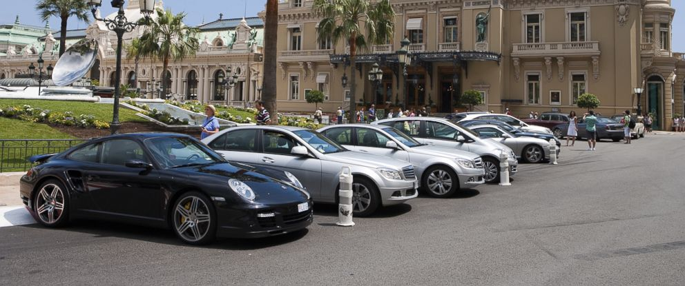 PHOTO: Luxury automobiles are parked outside the Monte Carlo Casino in Monaco.