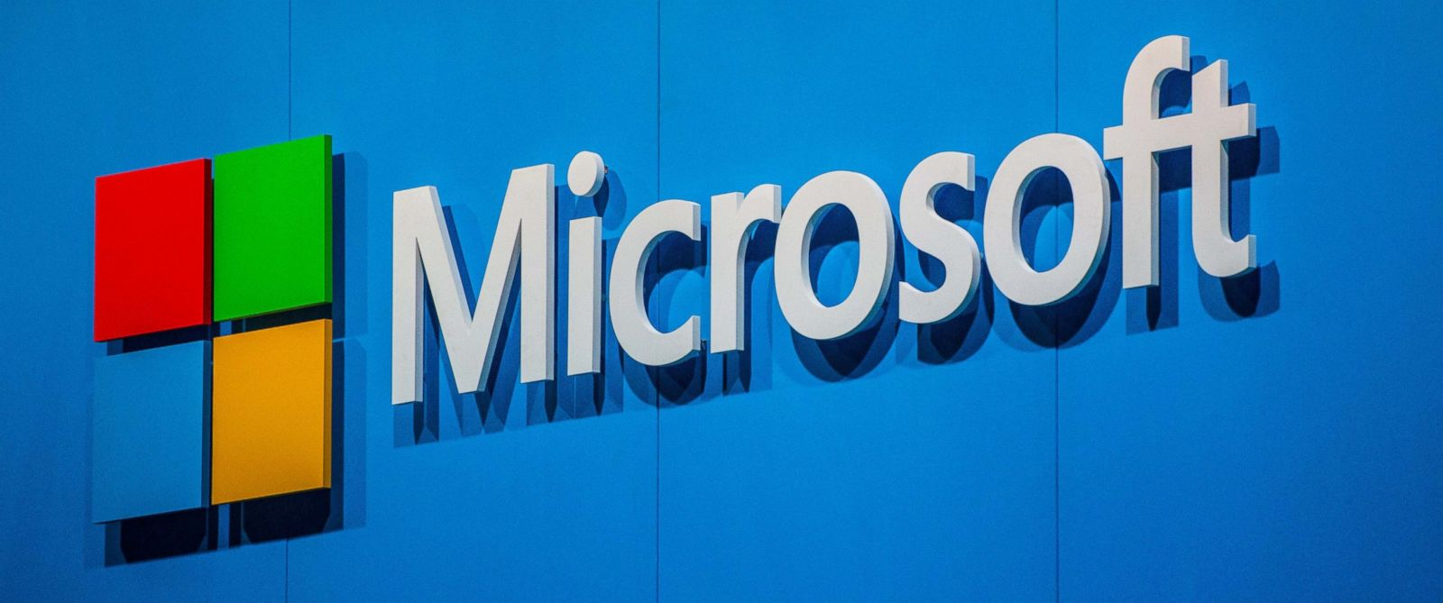 PHOTO: A logo sits outside the Microsoft pavilion during the second day of the Mobile World Congress 2015 at the Fira Gran Via complex on March 3, 2015 in Barcelona, Spain.