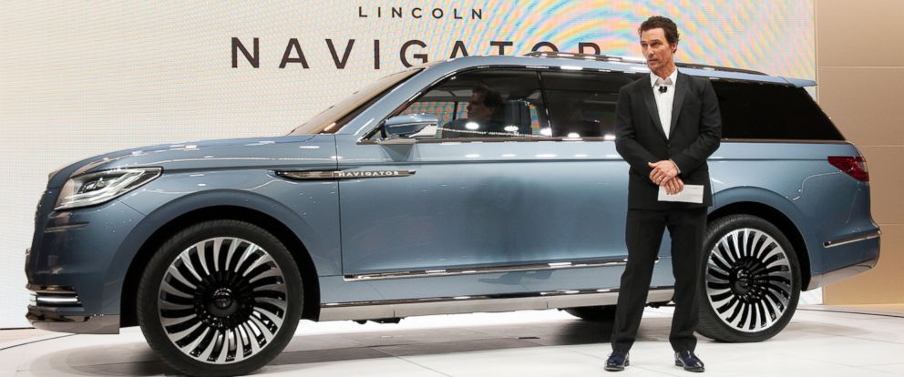 PHOTO: Matthew McConaughey introduces a concept model of the new Lincoln Navigator at the New York International Auto Show at the Javits Center, March 23, 2016 in New York City.