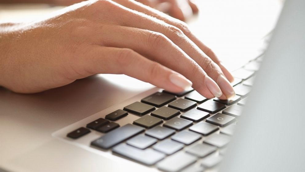 PHOTO: A woman is pictured typing on a laptop in this stock image.