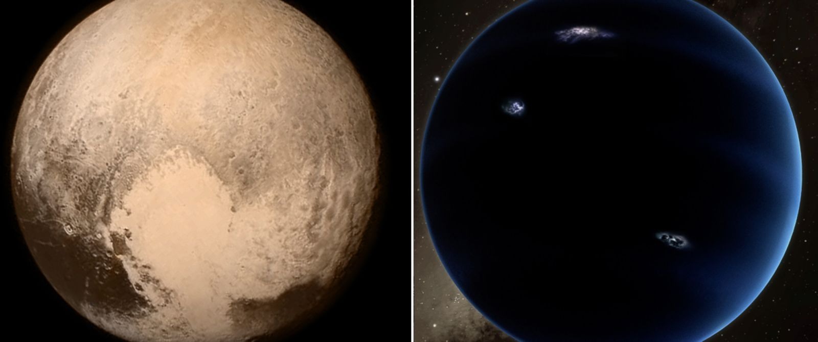 "PHOTO:Pluto, left, is seen in this image, taken aboard NASAs New Horizons spacecraft, July 13, 2015.Right, Scientists reported they finally have ""good evidence"" for Planet X, a ninth planet, seen in this artist rendering."