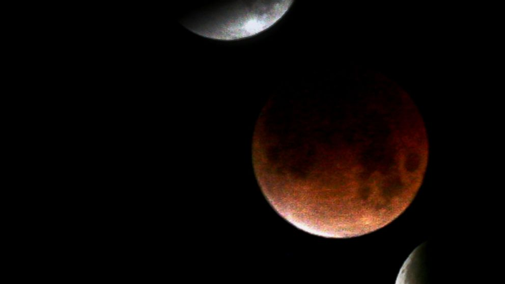PHOTO: This file picture taken on Feb. 21, 2008 is a combo picture of five images showing various stages of the lunar eclipse as seen in Sofia.