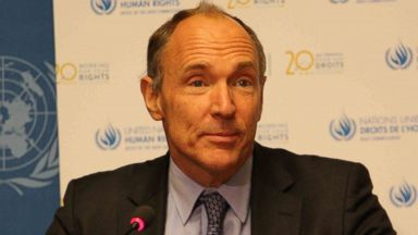 PHOTO: The inventor of the World Wide Web Tim Berners-Lee speaks during a press conference
