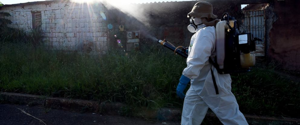 PHOTO:A member of the National Health Foundation fumigates against the Aedes aegypti mosquito, vector of the dengue, chikungunya fever and zika viruses, in Gama, Brazil, Feb.17, 2016.