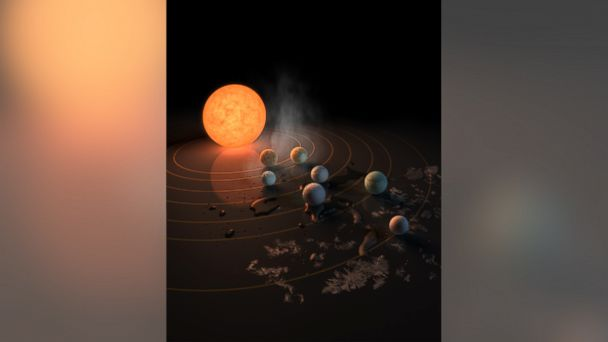 PHOTO: The TRAPPIST-1 star, an ultra-cool dwarf, has seven Earth-size planets orbiting it. This artist's concept appeared on the cover of the journal Nature in Feb. 2017 announcing new results about the system.