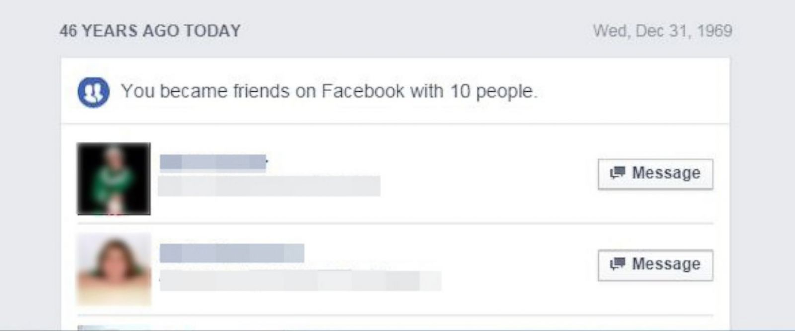 "PHOTO:Facebooks ""On This Day"" feature is claiming some people became friends on the social network 46 years ago."