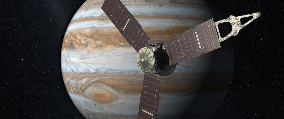 PHOTO: Launching from Earth in 2011, the Juno spacecraft will arrive at Jupiter in 2016 to study the giant planet from an elliptical, polar orbit.