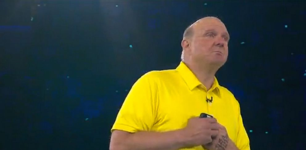 PHOTO: Outgoing Microsoft CEO Steve Ballmer delivered a teary goodbye.