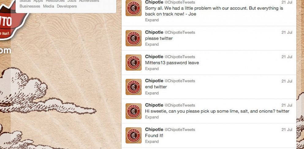 PHOTO: Chipotle faked a Twitter hack.