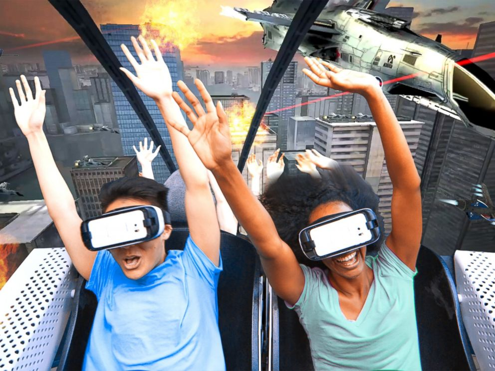 PHOTO:Six Flags Entertainment and Samsung Electronics announce the debut of North Americas first Virtual Reality Roller Coaster.